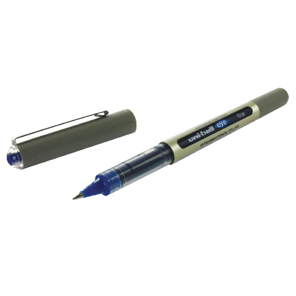 Uni-Ball Eye Fine Rollerball Pen UB-157 0.5mm Line Blue (Pack of 12) 9000701