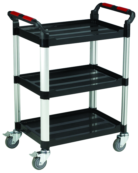 Image for Barton Black and Silver 3 Shelf Standard Plastic Trolley White WHTT3SS