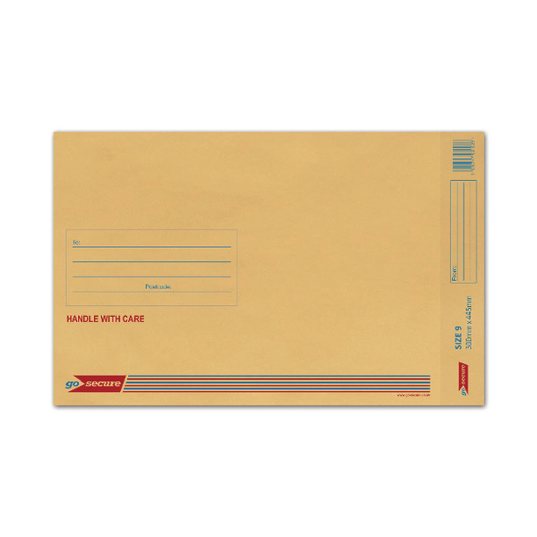 GoSecure Size 9 300x445mm Brown Bubble Lined Envelopes (Pack of 50) ML10058