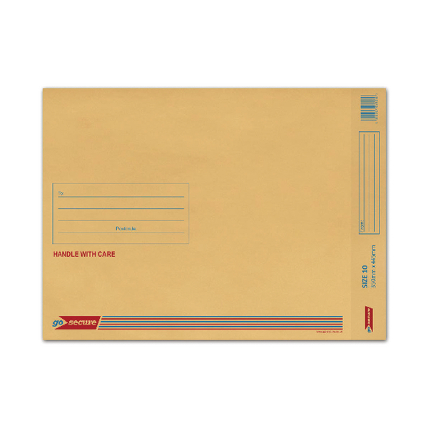 GoSecure Size 10 350x470mm Brown Bubble Lined Envelopes (Pack of 50) ML10062
