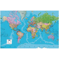 Image for Map Marketing Giant World Political Framed Map GWLDF