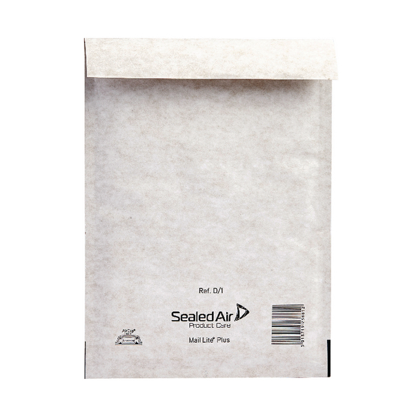 Mail Lite Plus Bubble Lined Size D/1 180x260mm Oyster White Postal Bag (Pack of 100) MLPD/1
