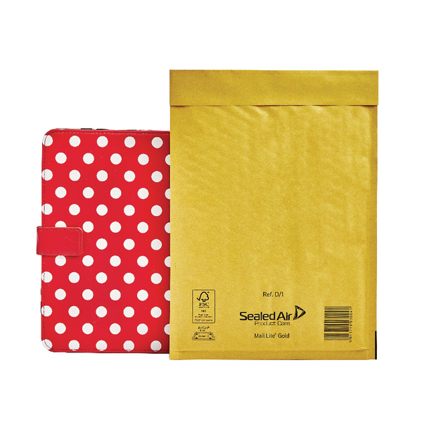 Mail Lite Padded Postal Bag Size D/1 181x273mm Gold (Pack of 100) 100943477