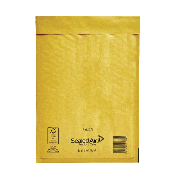 Mail Lite Bubble Lined Size D/1 180x260mm Gold Postal Bag (Pack of 100) MLGD/1