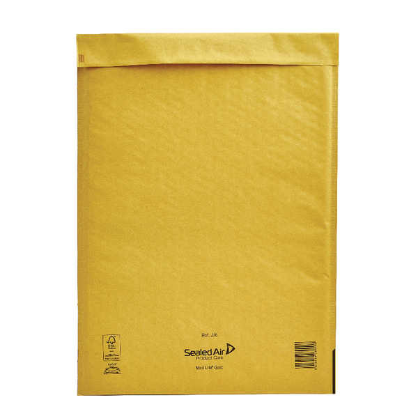 Mail Lite Bubble Lined Size J/6 300x440mm Gold Postal Bag (Pack of 50) MLGJ/6
