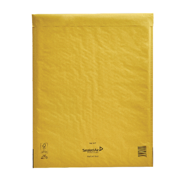 Mail Lite Bubble Lined Size K/7 350x470mm Gold Postal Bag (Pack of 50) MLGK/7