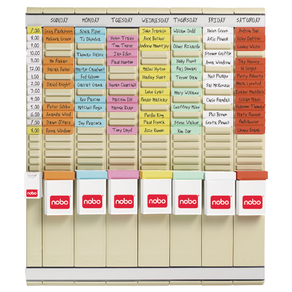 Nobo 7 T-Card Panel Midi Office Planning Kit 480x480mm 29110