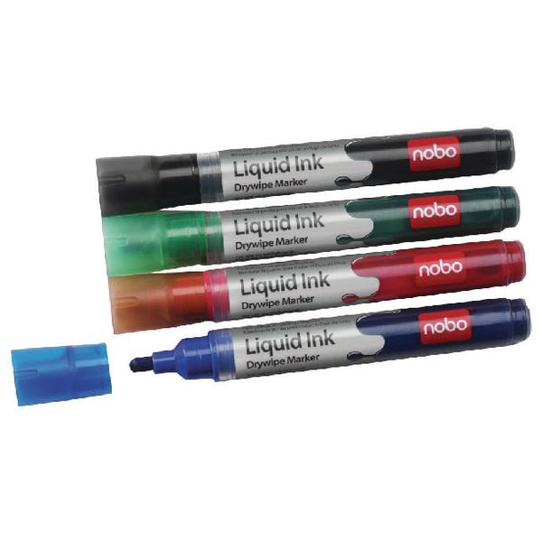 Nobo Liquid Ink Drymarker Assorted Pk6