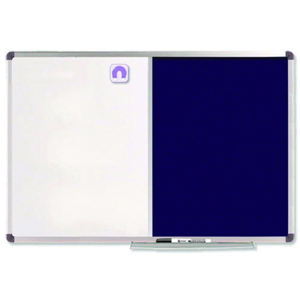 Nobo Combination Board Magnetic Dry Wipe and Blue Felt 1200 x 900mm 1902258