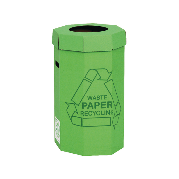 Image for Acorn Green Cardboard Recycling Bin 60 Litre (Pack of 5) 402565