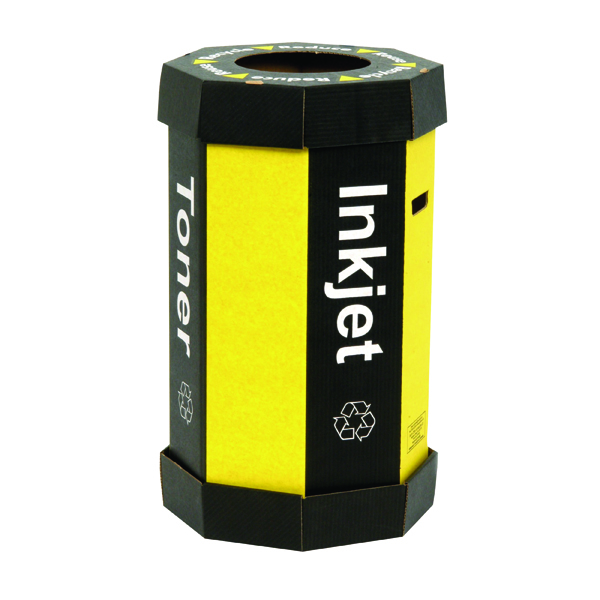 Image for Acorn Black Cartridge /Yellow Recycling Bin 60 Litre (Pack of 5) 059783