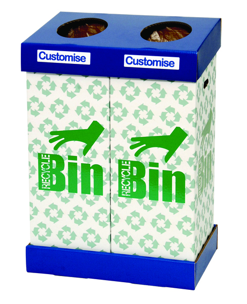 Acorn Office Twin Recycling Bin Blue/Green 802853