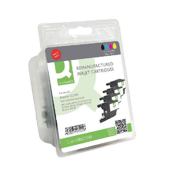 Q-Connect Brother LC1240 Ink Cartridge Rainbow Pack KCMY (Pack of 4) LC1240-COMP