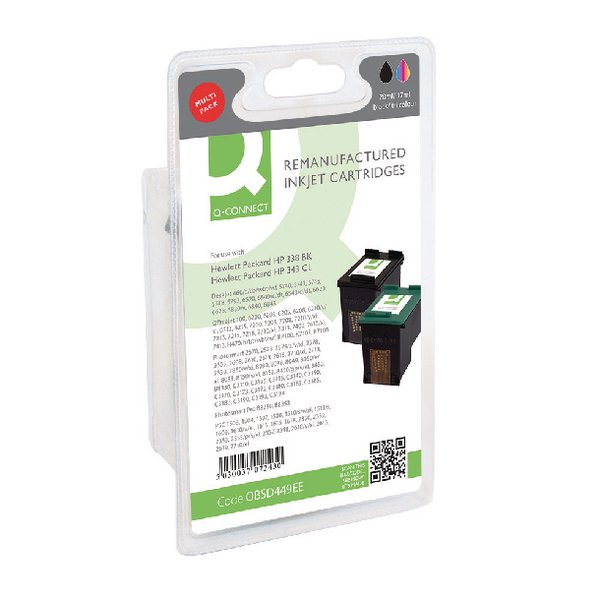 Q-Connect HP 338 343 Ink Cartridge Multipack Black Colour (Pack of 2) SD449EE-COMP