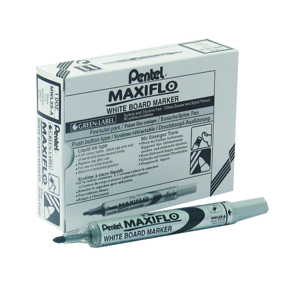 Pentel Maxiflo Whiteboard Marker Fine Bullet Tip Black (12 Pack) MWL5S-A