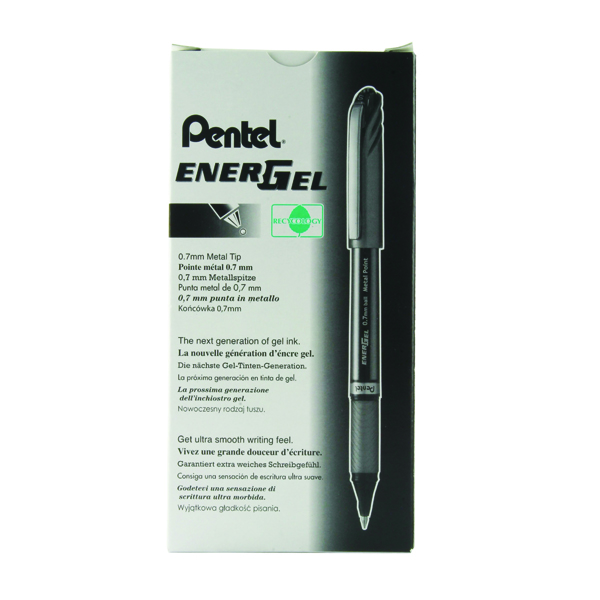 Pentel EnerGel Plus Metal Tip 0.7mm Black Rollerball Pen (12 Pack) BL27-A