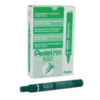 Pentel Green N50 Permanent Marker Pens Bullet Tip (Pack of 12) N50-D
