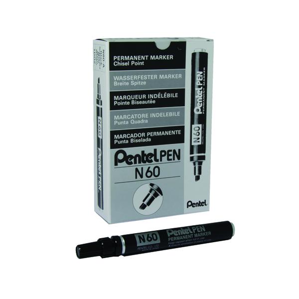 Pentel N60 Permanent Black Chisel Tip Marker (Pack of 12) N60-A