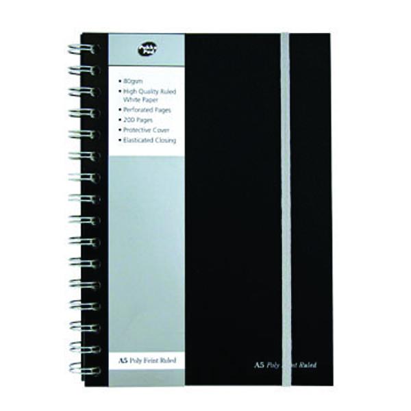 Pukka Jotta A5 Notebook Wirebound Polypropylene Feint Ruled 160 Pages Black (Pack of 3) SBJPOLYA5