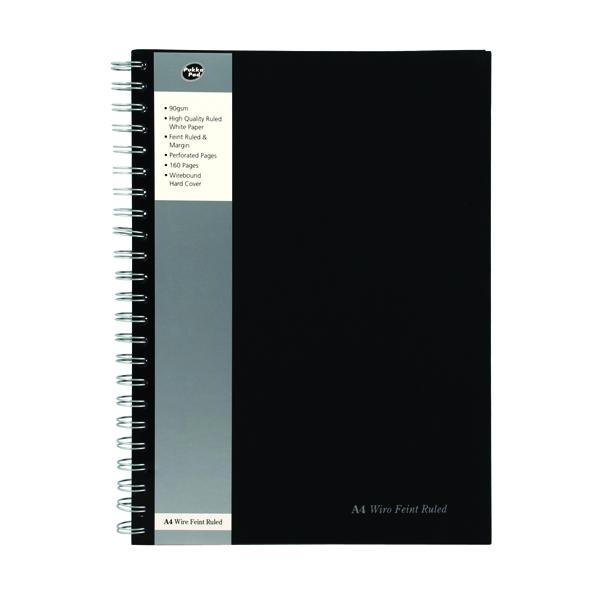 Pukka Wirebound A4 Notebook Wirebound Hardback Feint Ruled With Margin 160 Pages Black SBWRULA4