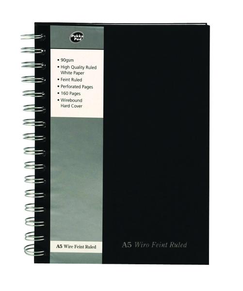 Pukka Wirebound A5 Notebook Wirebound Hardback Feint Ruled With Margin 160 Pages Black SBWRULA5