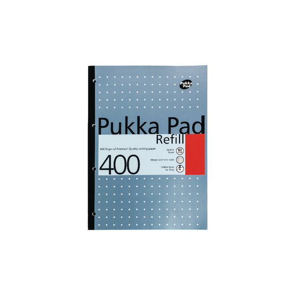 Pukka Refill A4 Pad 4 Hole Punched Feint Ruled and Margin 400 Pages (Pack of 5) REF400