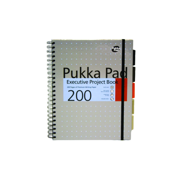 Pukka Executive A4 Project Book Wirebound Feint Ruled With Margin 200 Pages (Pack of 3) 6970-MET