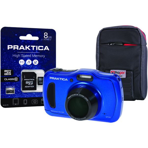 Praktica Luxmedia WP240 Waterproof 20mp Camera Plus 8GB Card and Case WP240-BL 8GBCASE