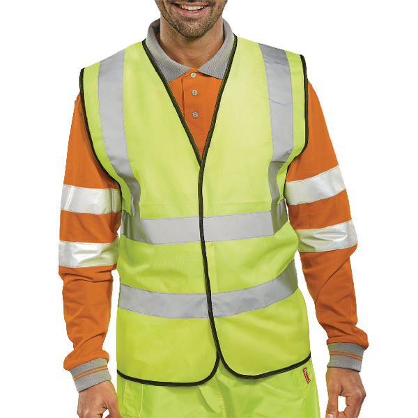 Proforce High Visibility 2-Band Waistcoat Yellow Medium HV08YL400