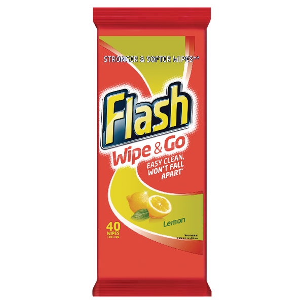 Flash Wipe & Go Lemon Cleaning Wipes (40 Pack) 5410076791750