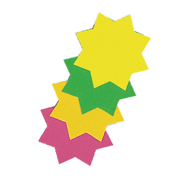RDI Assorted Fluorescent Star Ticket Boards (Pack of 12) BI8002