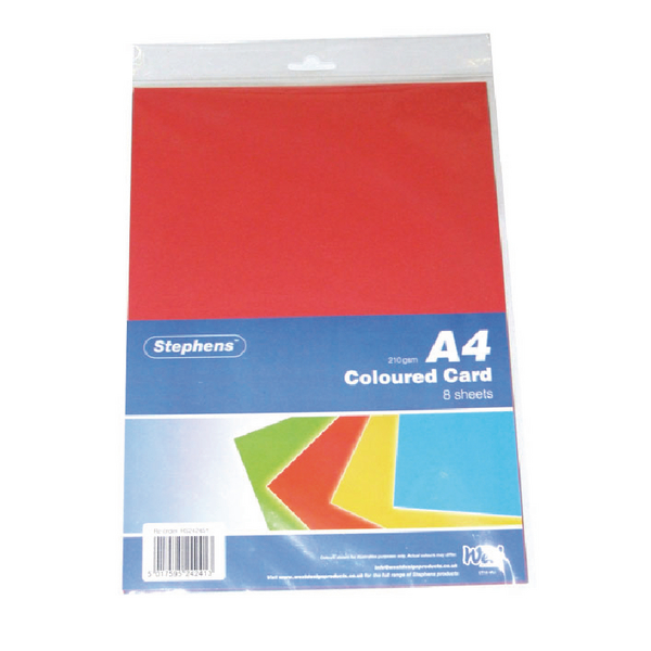Image for Stephens Assorted Coloured Card (Pack of 80) 1
