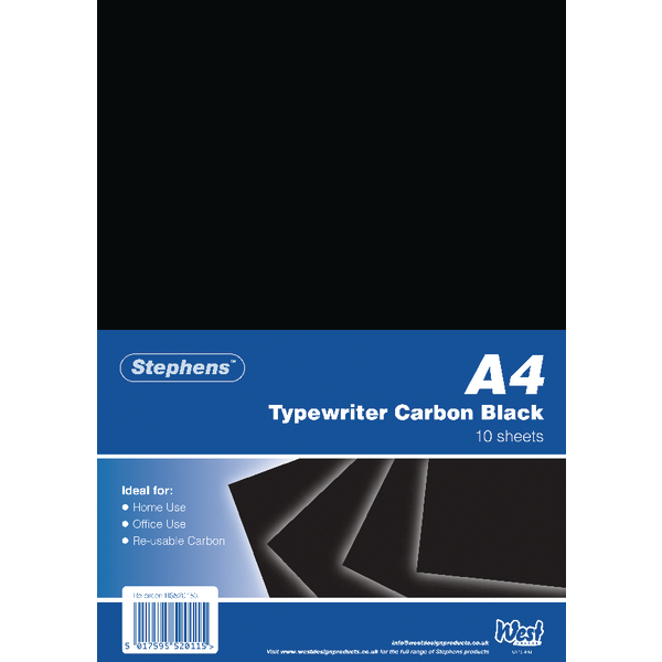 Image for Stephens Black Typewriter Carbon A4 Paper (Pack of 100) RS520153