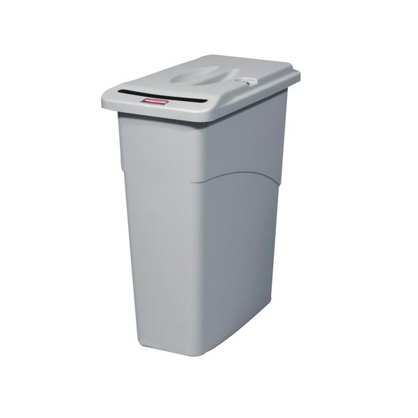 Rubbermaid Slim Jim Grey Confidential Waste Container FG9W1500LGRAY