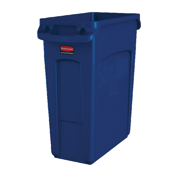Rubbermaid Slim Jim Container 60 Litre Blue With Recycling Symbol 1971257