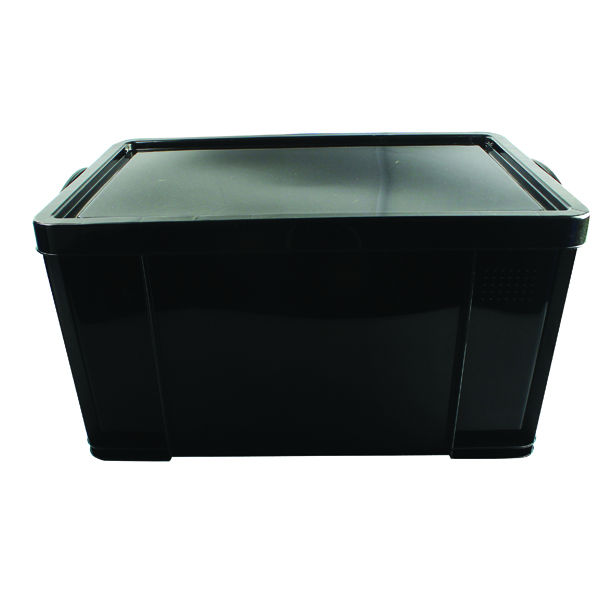 Really Useful Black 84L Recycled Plastic Storage Box 84Black R