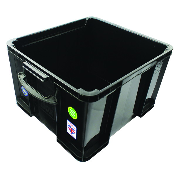 Really Useful Black 42L Recycled Plastic Storage Box 42Black R