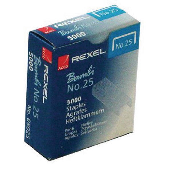 Rexel No.25 4mm Staples 10 Sheet Capacity (Pack of 5000) 05025