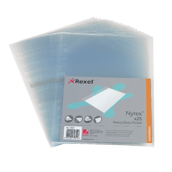 Rexel Nyrex Heavy Duty Side Opening Clear Pocket (25 Pack) NRBA41 11011