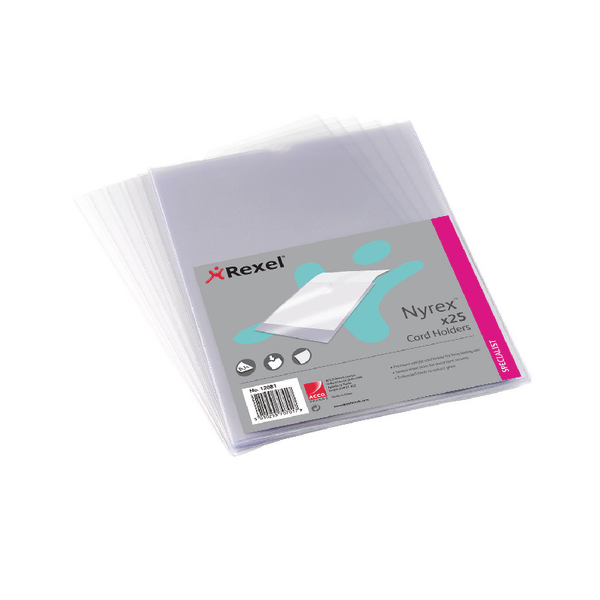 Rexel Clear Nyrex Card Holders A4 (Pack of 25) 12081