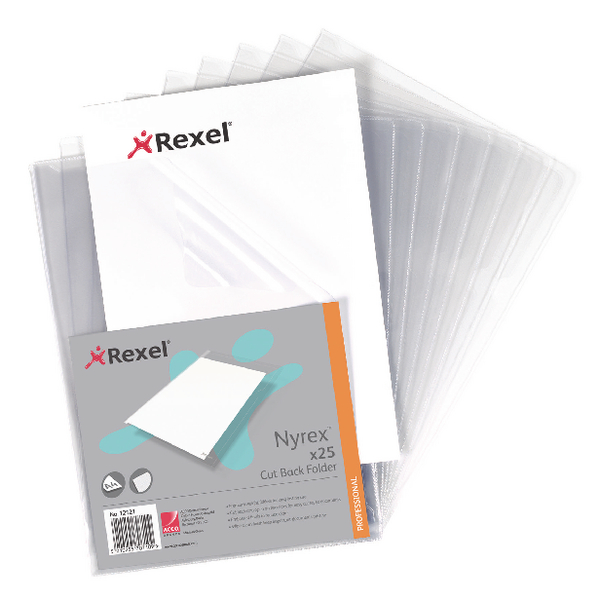 Rexel Nyrex Cut Back A4 Folder PVC Clear (Pack of 25) GFA4 12121