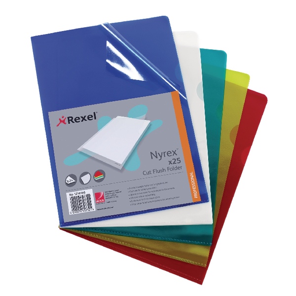 Rexel Nyrex A4 Assorted Cut Flush Folders (25 Pack) 12161AS