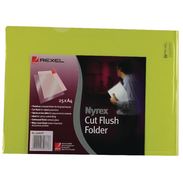 Rexel Nyrex A4 Yellow Cut Flush Folder (Pack of 25) 12161YE