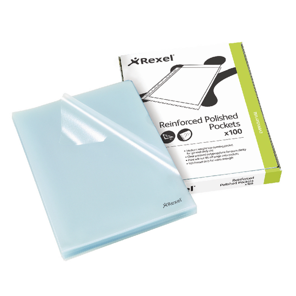 Rexel A4 Clear Cut Flush Folder Clear (Pack of 100) 12215