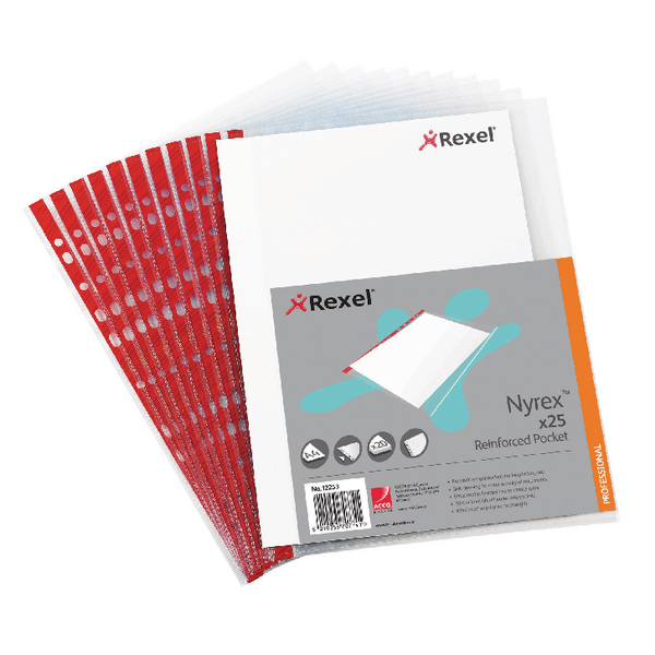 Rexel Nyrex Pocket PVC Side Opening Clear (Pack of 25) PRA4L 12253