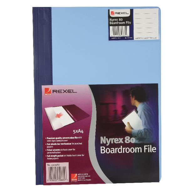 Rexel Nyrex Boardroom Files Blue A4 (Pack of 5) 13035BU