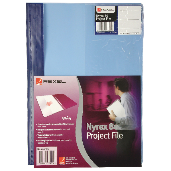 Rexel Nyrex A4 Blue Project File Pack of 5 13045BU