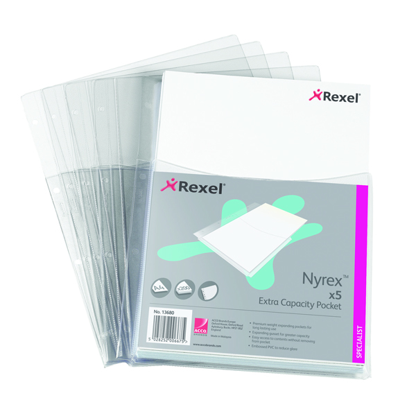Rexel Nyrex Heavy Duty Extra Capacity Pocket A4 Clear (Pack of 5) 13680
