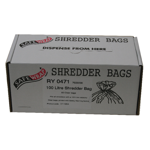 Safewrap 100 Litre Shredder Bags (50 Pack) RY0471