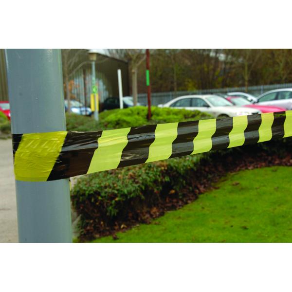 VFM Black/Yellow Striped Tape Barrier 500m 304927